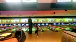 How cute does Shad look in his little bowling shoes? :)